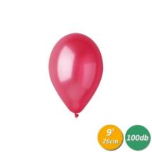 26 cm-es metál piros gumi lufi 100 db/cs