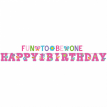 Happy 1 Birthday, Fun to be one felirat 320x25, 183x10 cm, 2 db/cs
