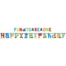 Happy Birthday, Fun to be one felirat 320x25, 183x10 cm, 2 db/cs