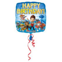 43 cm-es Mancs őrjárat Happy Birthday fólia lufi