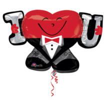 SuperShape - I love U feliratot tartó szív alakú forma fólia lufi