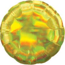 43 cm-es Irizáló, hologrammos citromsárga, kerek alakú fólia lufi