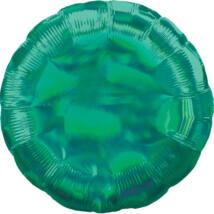 43 cm-es Irizáló, hologrammos zöld, kerek alakú fólia lufi