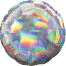 43 cm-es Irizáló, hologrammos ezüst színű, kerek alakú fólia lufi