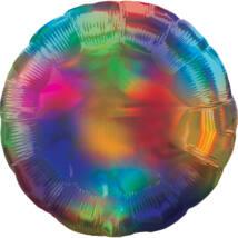 43 cm-es Irizáló, hologrammos szivárvány színű, kerek alakú fólia lufi