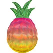 JumboShape - hologrammos, irizáló ananász alakú fólia lufi 43x78cm