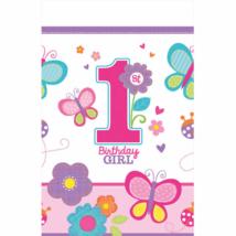 1st Birthday Girl -Pillangós -virágos asztalterítő első születésnapra