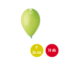 26 cm-es limezöld gumi léggömb 10 db/cs