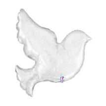 87 cm-es Galamb formájú, gyöngyház, hologrammos esküvői fólia lufi