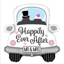 80 cm-es Happily Ever After feliratos esüvői autó formájú fólia lufi