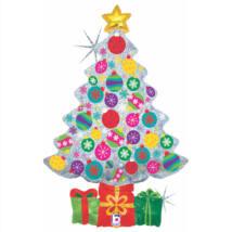 99 cm-es Karácsonyfa alakú, hologrammos fólia lufi