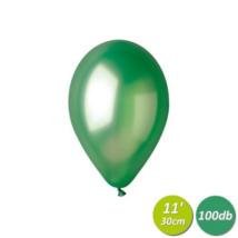 30 cm-es metál zöld gumi lufi 100 db/cs