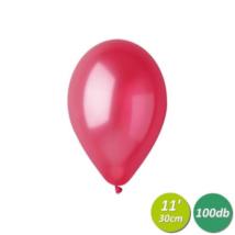 30 cm-es metál piros gumi lufi 100 db/cs
