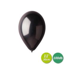30 cm-es metál fekete gumi lufi 100 db/cs