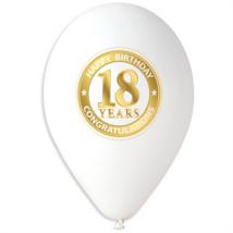 30 cm-es fehér gumi lufi 18. születésnapra 10 db/cs