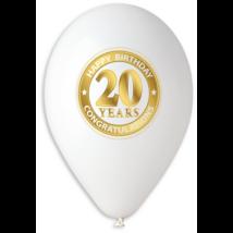 30 cm-es 20. születésnapra fehér gumi 10 db/cs