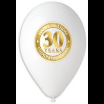 30 cm-es fehér 30. születésnapra gumi lufi 10 db/cs