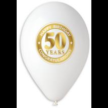 30 cm-es fehér 50. születésnapra gumi lufi 10 db/cs