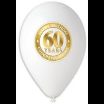 30 cm-es fehér 60. születésnapra gumi lufi 10 db/cs
