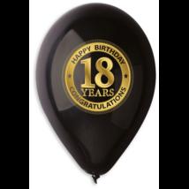 30 cm-es fekete 18. születésnapra gumi lufi 10 db/cs
