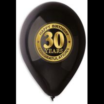 30 cm-es fekete 30. születésnapra gumi lufi 10 db/cs