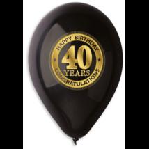 30 cm-es fekete 40. születésnapra gumi lufi 10 db/cs