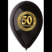 30 cm-es fekete 50. születésnapra gumi lufi 10 db/cs