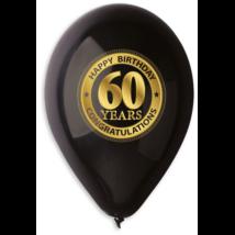 30 cm-es fekete 60. születésnapra gumi lufi 10 db/cs
