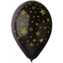 30 cm-es fekete csillagos printelt lufi 10 db/cs