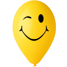 30 cm-es printelt léggömb kacsintós sárga smiley
