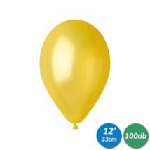 33 cm-es metál citromsárga gumi lufi 100 db/cs