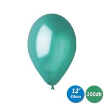 33 cm-es metál sötétzöld gumi lufi 100 db/cs