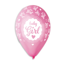 33 cm-es Baby girl pink metál printelt lufi 10 db/cs