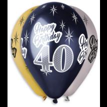 33 cm-es HB 40. születésnapra csillagos metál printelt lufi 3 színben 10 db/cs