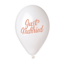 33 cm-es Just Married rosegold printelt lufi 10 db/cs