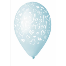 33 cm-es szives metál aquamarine Just Married printelt lufi 10 db/cs