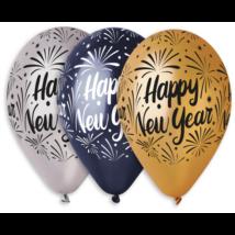 33 cm-es Happy New Year printelt lufi  3 szín 10db/cs