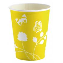 Pillangós sárga papír pohár 250 ml 8 db/cs