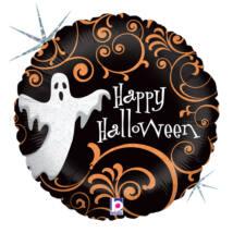 23 cm-es Happy Halloween feliratú szellemmes fólia lufi