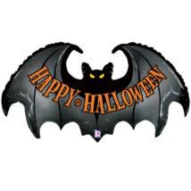 SuperShape - 107cm-es Happy Halloween feliratú, denevér alakú fólia lufi