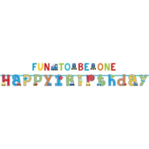Happy Birthday, Fun to be one felirat 320 x 25, 183 x 10 cm, 2 db/cs