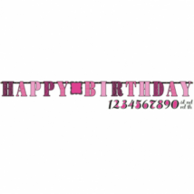 Perszonalizálható Happy Birthday felirat rózsaszín