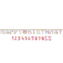 Unikornisos Happy Birthday felirat