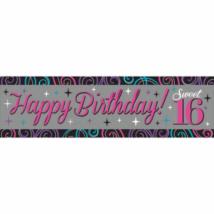 Happy Birthday16 felirat rózsaszín 165x50 cm