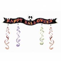 Happy Halloween fólia felirat lelógókkal 1,3 m x 33 cm