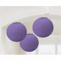 Lila színű lampion 24 cm 3 db/cs