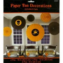 Legyező dekoráció narancs-fekete 6 db/