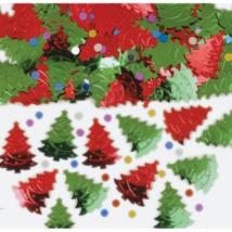 Zöld-piros fenyőfa fromájú konfetti 14 g
