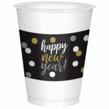 Happy New Year műanyag pohár 33x33cm 25db/csom.