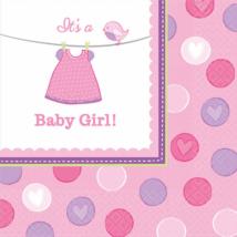 It's a girl rózsaszín szalvéta 33 x 33 cm 16 db/cs